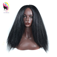 цена на Feibin Afro Wig Synthetic Wigs Yaki Straight Hair Heat Resistant Fiber for Black Women C13