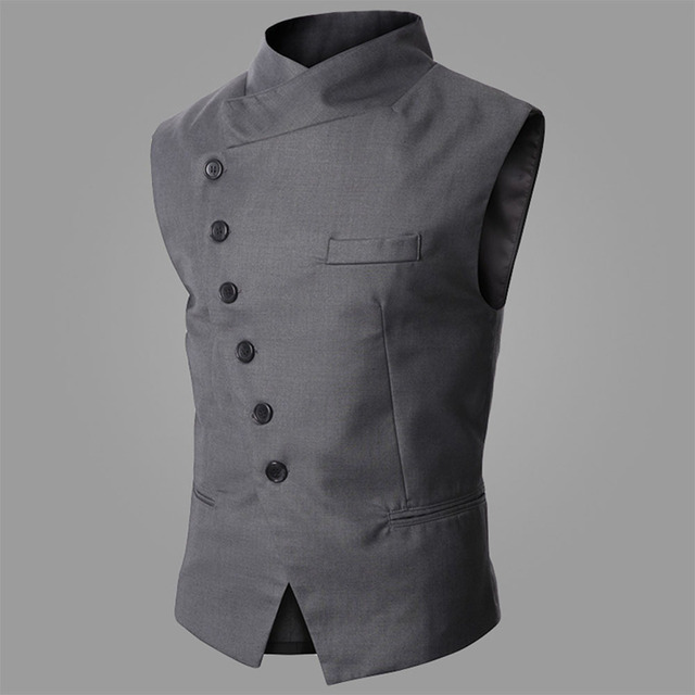 2016 new fashion men steampunk slim vest stand collar Helical single breasted ball vest solid color tight fit leisure menwear