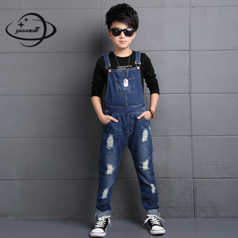 Overalls Yauamdb Kinder Overalls 2017 Herbst Frühling 6-17y Jungen Jeans Kinder Taste Dünne Hose Einfarbig Cowboy Kleidung Y52