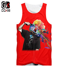 OGKB Vrouwen/mannen Sexy Building Fitness Mouwloos Shirt Grappige Print Clown 3D Tank Top Joker Vest Man Hiphop punk Mouwloze Tee(China)