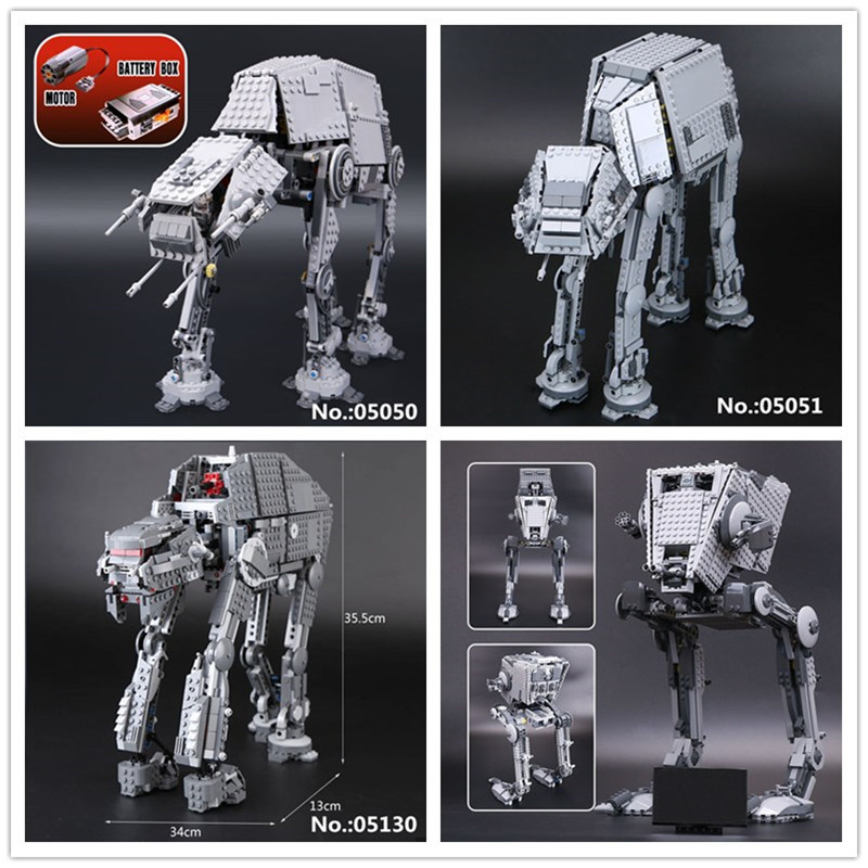 цена на LEPIN 05050 05051 05052 05130 The First order Sr Model W Out of print Robot AT Building Block Bricks Toys 75054 10178 75189