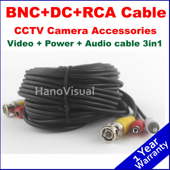 NEW Arrival! BNC DC RCA 3in1 CCTV Camera Accessories Video Power Audio Cable for Surveillance system 20m 65ft