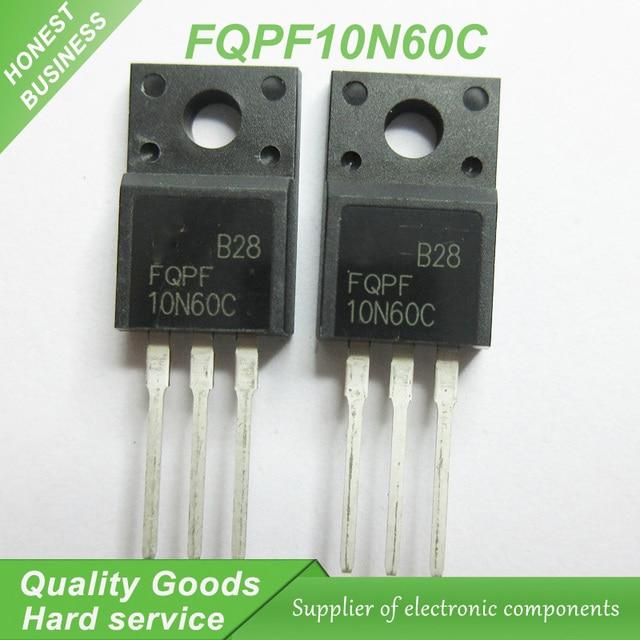 10pcs free shipping FQPF10N60C 10N60C 10N60 600V 9.5A MOSFET N-Channel transistor TO-220F new original