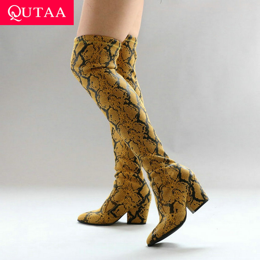 QUTAA 2020 Fashion Serpentine PU Leather Slip On Long Boots Square Heel Comfort Winter Women Over