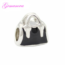 Black women's handbag charm beads big hole new jewelry making bracelet amulet Fit Pandora Bracelet Women's DIY Jewelry(China)
