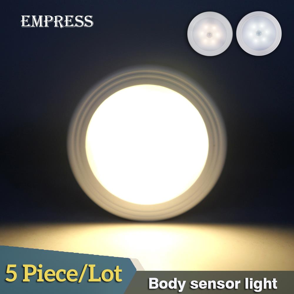 цена на 5pcs LED Energy Saving Lamp Mini Wireless Infrared Motion Sensor Bulb Porch for Bedroom Hallway Kitchen Cabinet LED Night Light