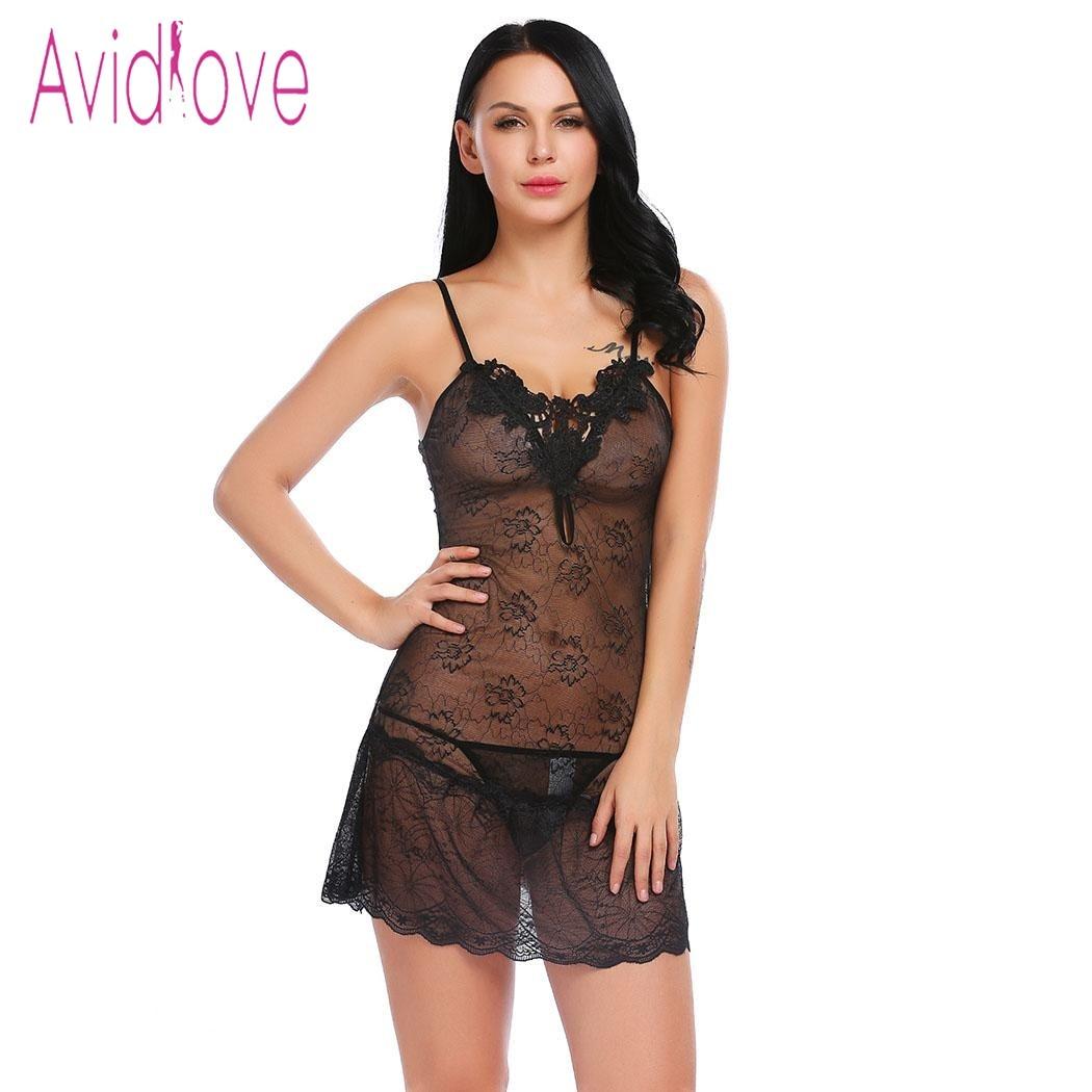Avidlove Womens Halter Lace Babydoll Naughty Maid Uniform Lingerie