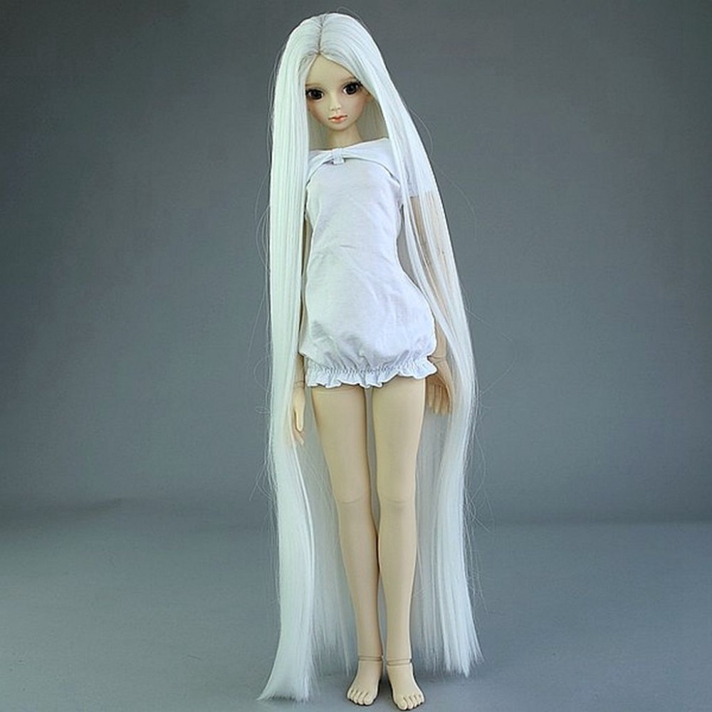 [wamami] 20# White Straight Long Wig for 1/4 MSD DZ DOD BJD Dollfie 6-7 fashion black hair extension fur wig 1 3 1 4 1 6 bjd wigs long wig for diy dollfie