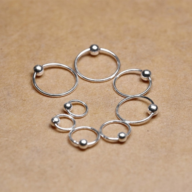 1pair Surgical Steel Hoop Nose Ring Ball Closure Lip Ear Eyebrow Universal Piercing Cartilage Earring 4 Size