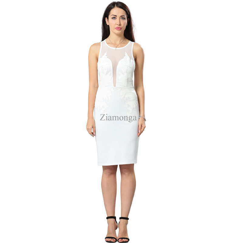 Bandage White Casual Pencil Midi Dress 1