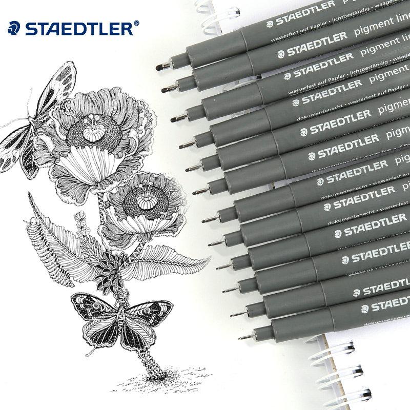 Pack Of 8 /12 Staedtler Fineliner Gel Pens Black Color 12 Sizes Office&School  Art Sketching Drawing