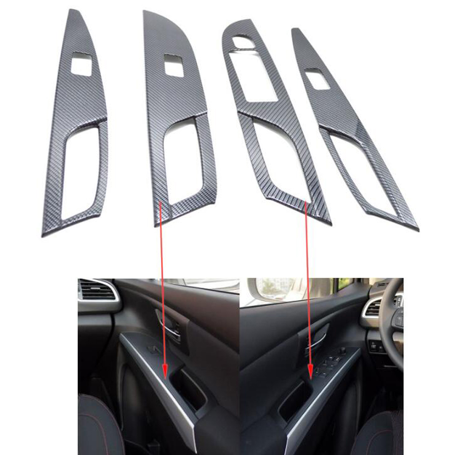 YAQUICKA Carbon Fiber Style Car Interior Door Handle Armrest Window Lift Switch Cover Trim Sticker For Suzuki Sx4 S-cross 14-17 yaquicka carbon fiber style 4x car interior door side panel cover strips trim for land rover discovery 5 2017 car styling covers