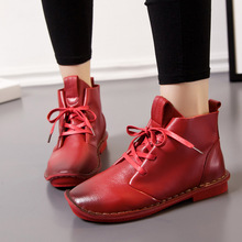 1802 Genuine Leather Women Boots Winter  Shoes Women Snow Boots 2016 Fashion New Lace-up Soft Shoes Women 's Casual Shoes