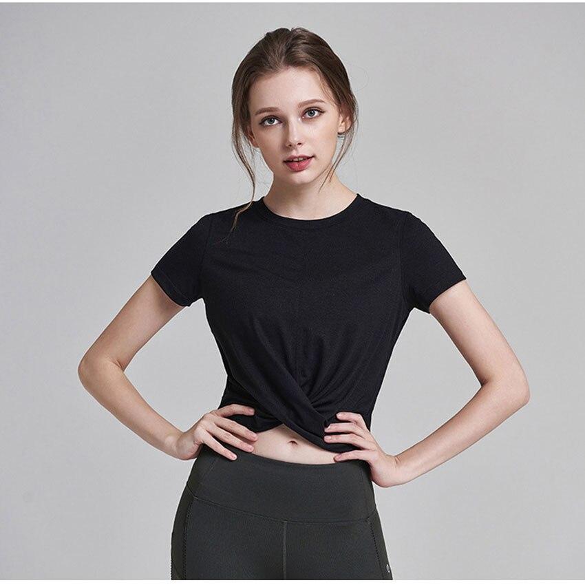 camiseta curta feminina curta com secagem rápida, para academia e yoga senhoras
