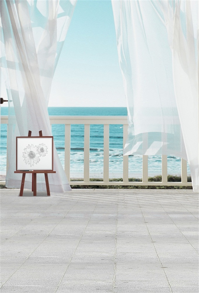 Laeacco Sea View Room Painting Board Scene Baby Photographic Backdrops Customized Photography Backgrounds For Photo Studio