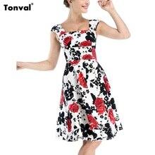 Tonval 4XL 5XL Vintage Women Dress 50s Floral Summer Dress Sexy Backless Plus Size Rockabilly Dots