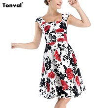 Tonval 4XL 5XL Vintage Women Dress 50s Floral Summer Dress Sexy Backless Plus Size Rockabilly Dots Retro Party Swing Dresses