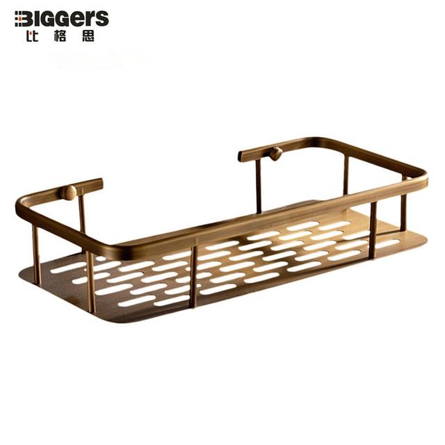 Free Shipping Bathroom Hardware Accessories Antique Bronze Copper Single Shelf Basket Shower Bath Rack 30