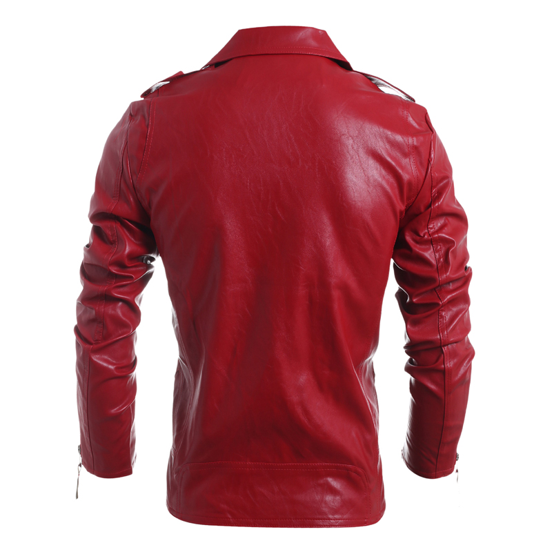 LANBAOSI Mens Faux Leather Jacket Motorbike Motorcycle Leather Jackets Coat Slim Fit Stand Collar
