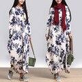 2016 новый осень Китайский ветер повседневный стиль печати О-Образным Вырезом прямо длинные свободные негабаритных форма полный рукав женский платье YMB-004