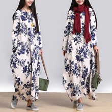 2016 new autumn Chinese wind casual style print O-neck straight long loose oversize  form full sleeve female dress YMB-004