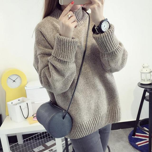Women Korean Oversized Sweater Slim Cashmere Thick Bottoming Turtleneck  LadyFashion Casual Spring Autumn Winter Knitted Pullover