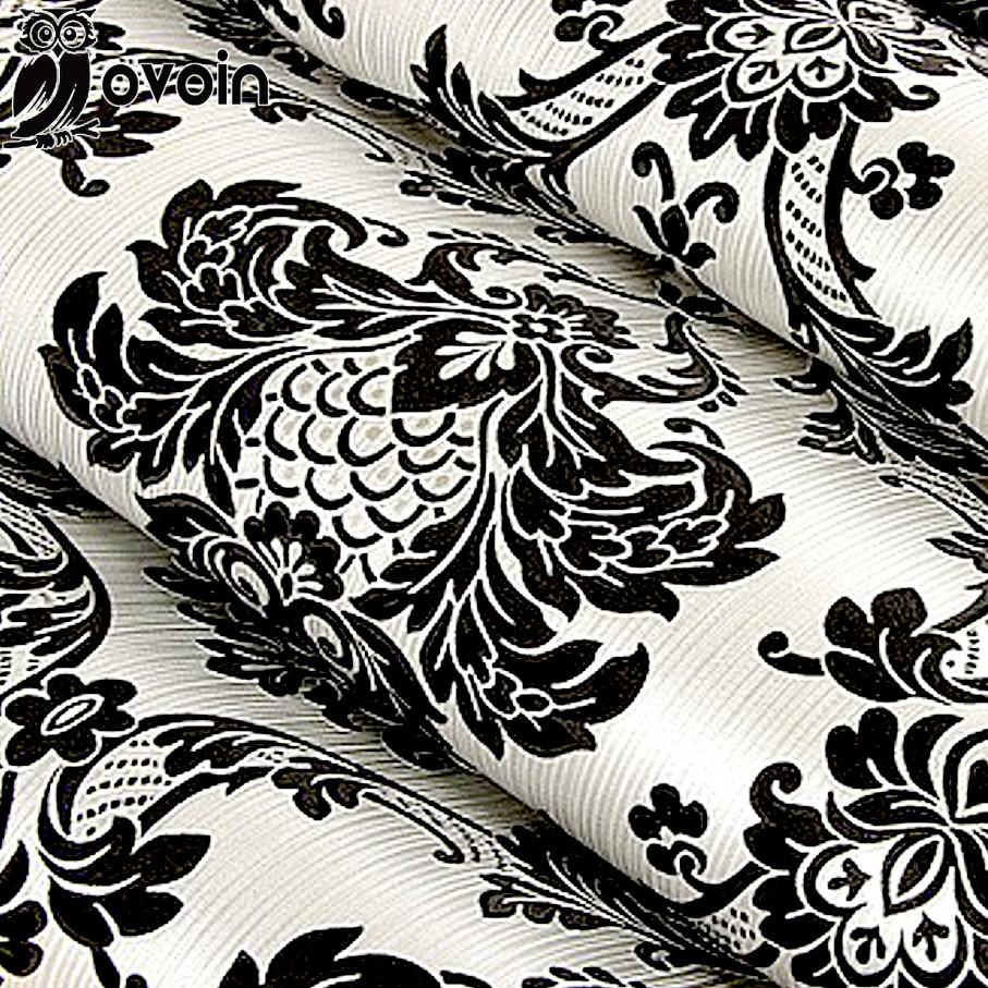 Floral Wallcovering PVC Wallpaper Black Silver Damascus