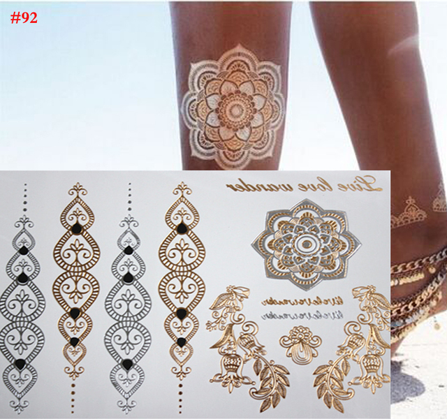 Gold tattoo jewelry Henna