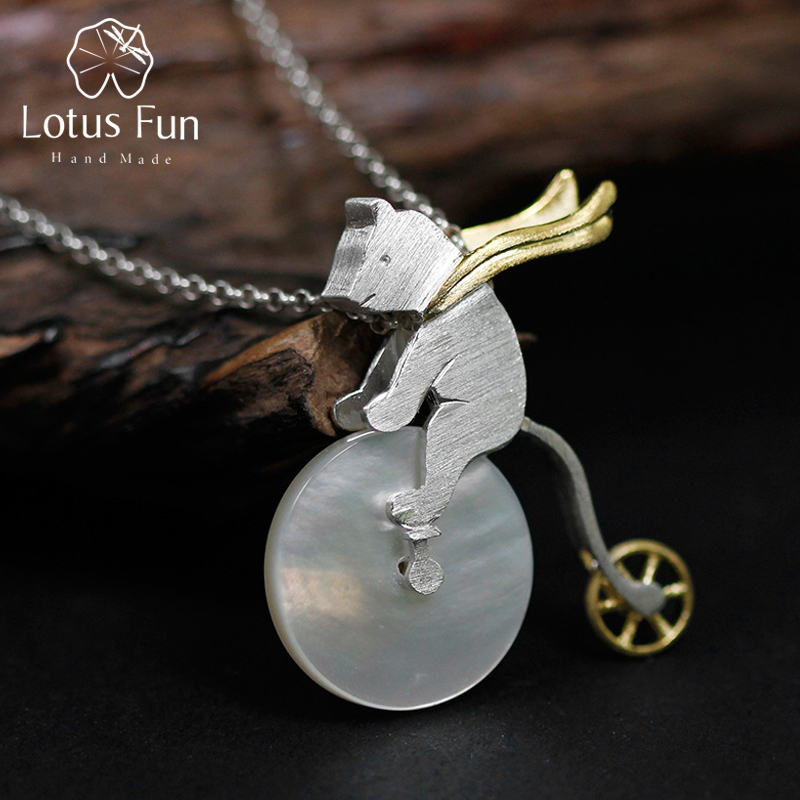 Lotus Fun Real 925 Sterling Silver Handmade Design Fine Jewelry Cute Bicycle Riding Bear Pendant without