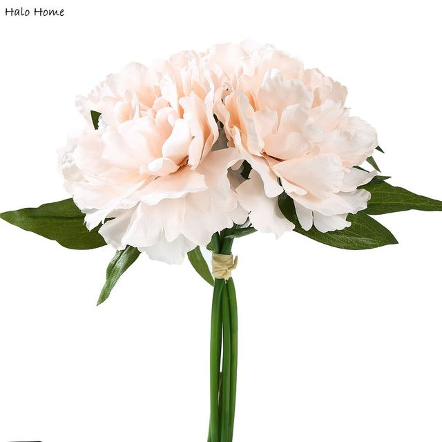 1 Bunch Silk Artificial Flower Light Pink Peony For Public Places Celebrations Garden Wedding Party Home Festival Decor