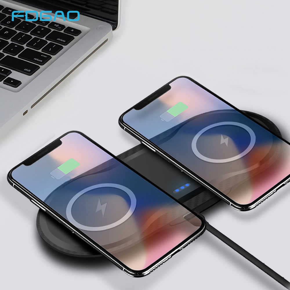 Fdgao Dual 10W Qi Wireless Charger untuk iPhone X Max XR X 8 Samsung S9 S10 USB Nirkabel Cepat pengisian Pad Dock Station Desktop