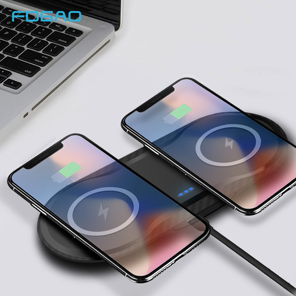 FDGAO Dual QI Wireless Charger For iPhone XS Max XR X 8 Samsung S9 Note 9 USB 5W Fast Wireless Charging Pad Dock Station DesktopFDGAO Dual QI Wireless Charger For iPhone XS Max XR X 8 Samsung S9 Note 9 USB 5W Fast Wireless Charging Pad Dock Station Desktop