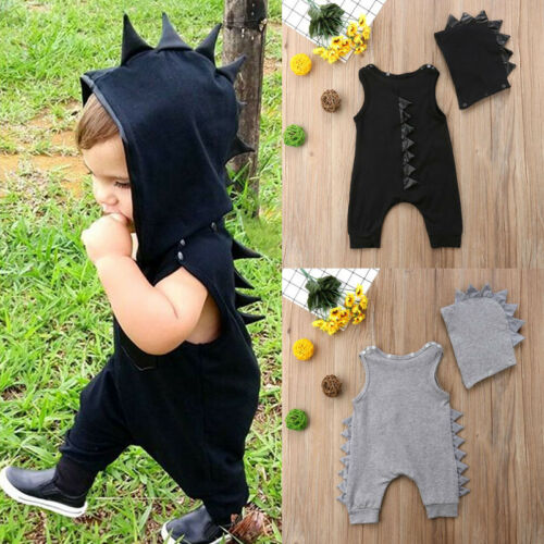 Able Kid Baby Boys Dinosaur Hooded Romper Jumpsuit Hat Clothes Outfits