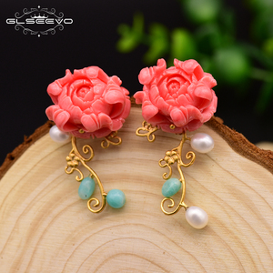Image 5 - GLSEEVO Real 925 Sterling Silver Pink Coral Drop Earrings White Pearl Pink Natural Stone Shell Flower Dangle Earrings GE0024