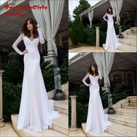 New Vintage Style V Neck Long Sleeve White Lace Sheath Wedding Dresses Bridal Gowns Custom Made