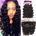 peruvian deep wave virgin hair 3 bundles with 13*4 lace frontal ear to ear closure loose ocean wave with bundles