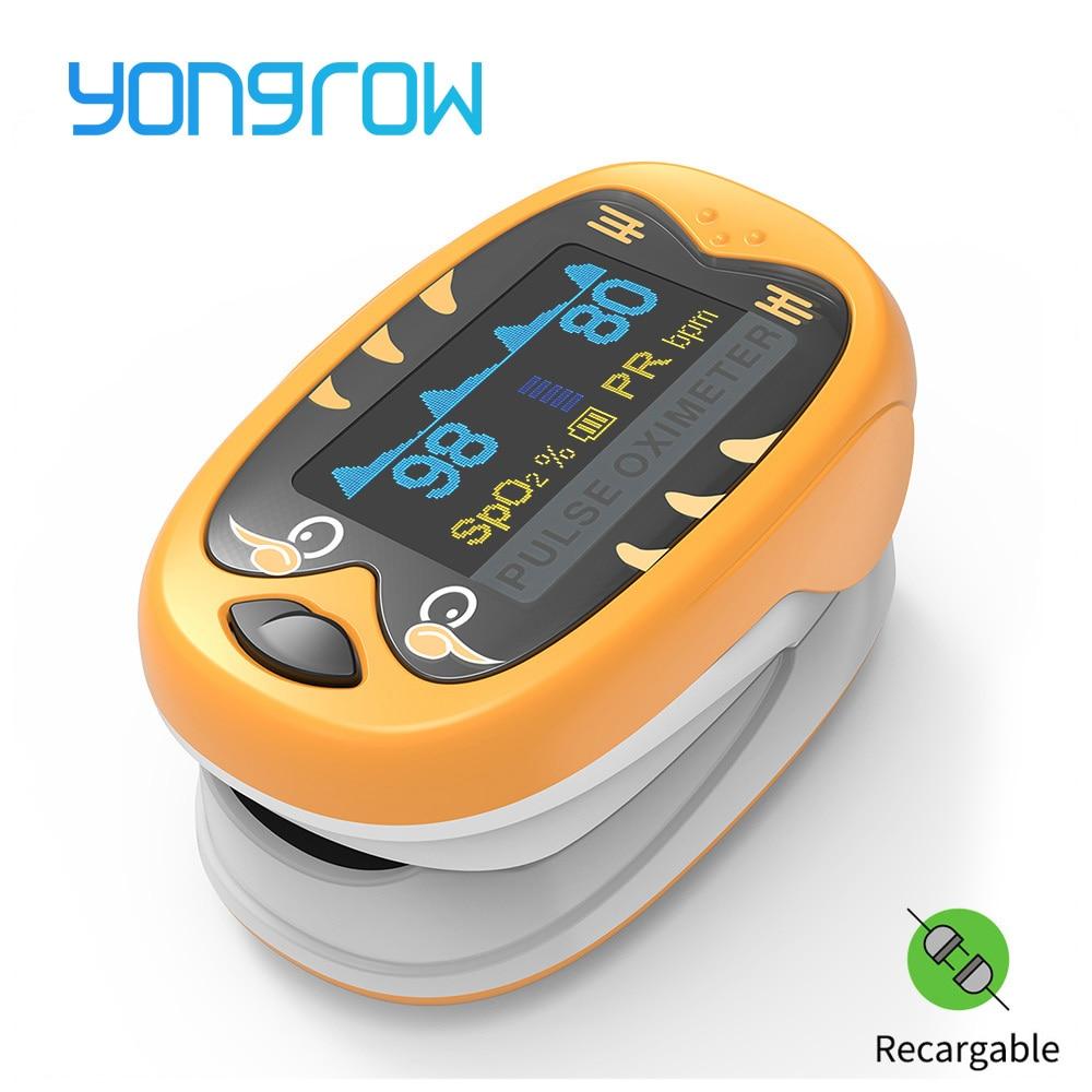 Yongrow Médica crianças Infantil Dedo SpO2 Medidor de Saturação de Oxigênio No Sangue Oxímetro de pulso Pediátrica Neonatal crianças Recarregável
