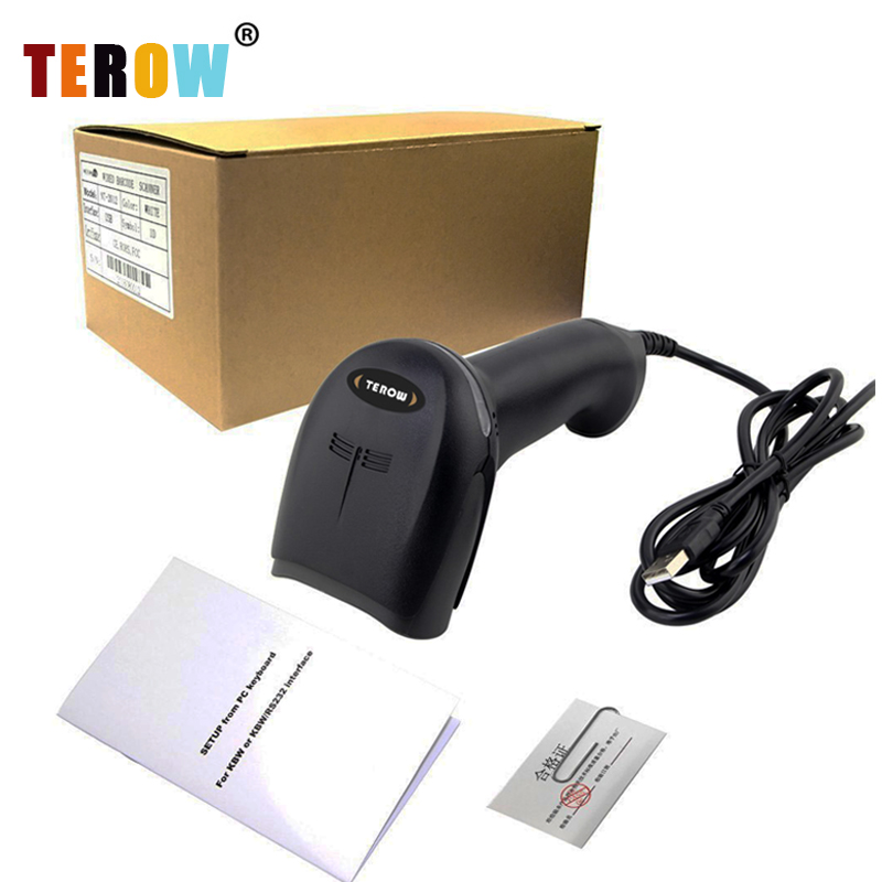 New TEROW Scanner F1 Handheld Barcode Laser Scanner Reader USB Wired 1D Bar Code Scan for POS System Plug and Play nt 2012 handheld barcode scanner reader usb wired 1d bar code scan for pos system