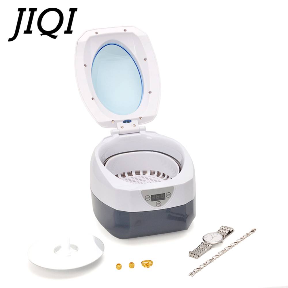 JIQI Mini Ultrasonic cleaner Stainless Steel Washing Bath Glasses Jewelry Watch Denture Digital Ultrasound Wave Cleaning Tank EU стоимость