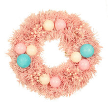 40cm Macaron Pink Garland Summer Wreath Led Decorative Hanging Front Door Indoor Wall Decor Pvc Color Ball