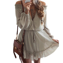 Summer Beach Mini Dress Lantern Long Sleeve