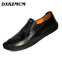DXKZMCM Brand Men Loafers Pure Handmade Genuine Leather Shoes Comfortable Top Quality Men Casual Shoes
