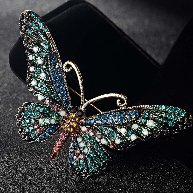 Blucome Fashion Women Butterfly Brooches Pins For Women Perfect Rhinestone Crystal Hijab Pins And Broaches colares Broches Pins