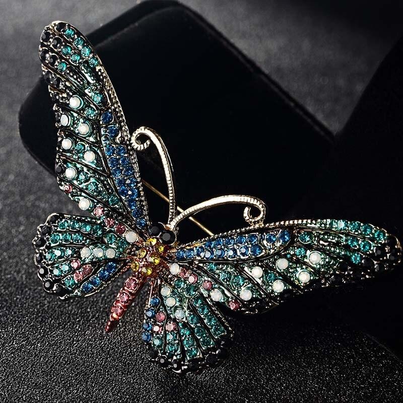 Blucome модные женские туфли бабочка Броши Шпильки для Для женщин идеально Украшенные стразами хиджаб Шпильки и протяжками Колареш брохес Шпильки