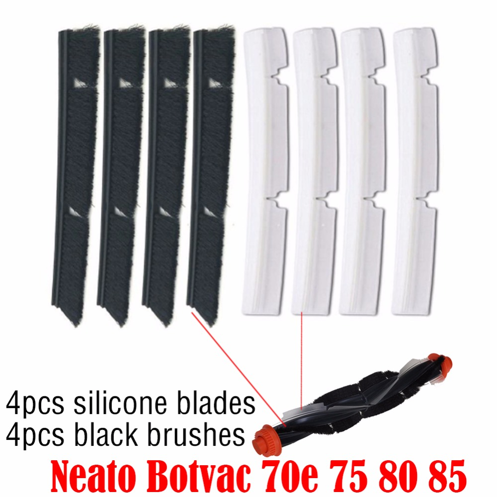 4*Silicone Blades+4*Brushes Replacement for Neato Botvac 70e 75 80 85 all D-Series Connected Vacuum Cleaner Parts accessories 4x silicone blades 4x brush 1x beater bearing replacement for neato botvac 70e 75 80 85 automatic vacuum cleaner robots