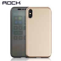 For IPhone X Case ROCK Dr V Series Flip Transparent Invisible Full Window Flip Case For