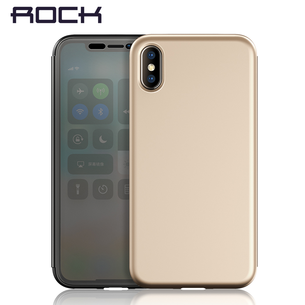 sports shoes b6caf c62e0 for iPhone X Case, ROCK Dr.v Series Flip Transparent Invisible Full Window  Flip Case for iPhone X flip cover for iPhoneX
