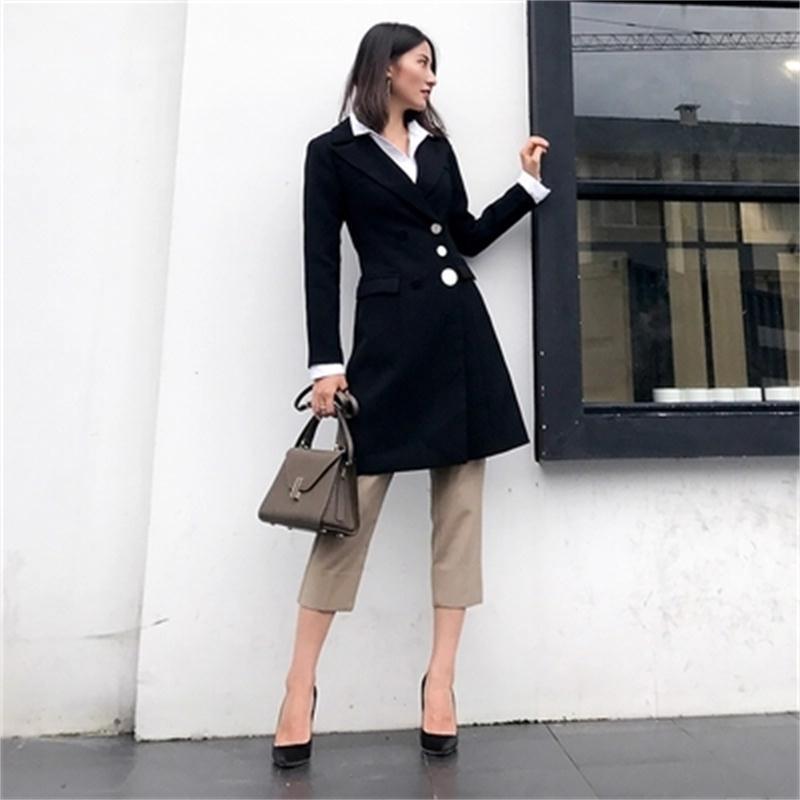 Costume Petit Haut Automne Longue Veste Section New 1 Femmes Blazers Mince Mode Gamme De Solide Casual Femme Manteau XqwP5EFEx