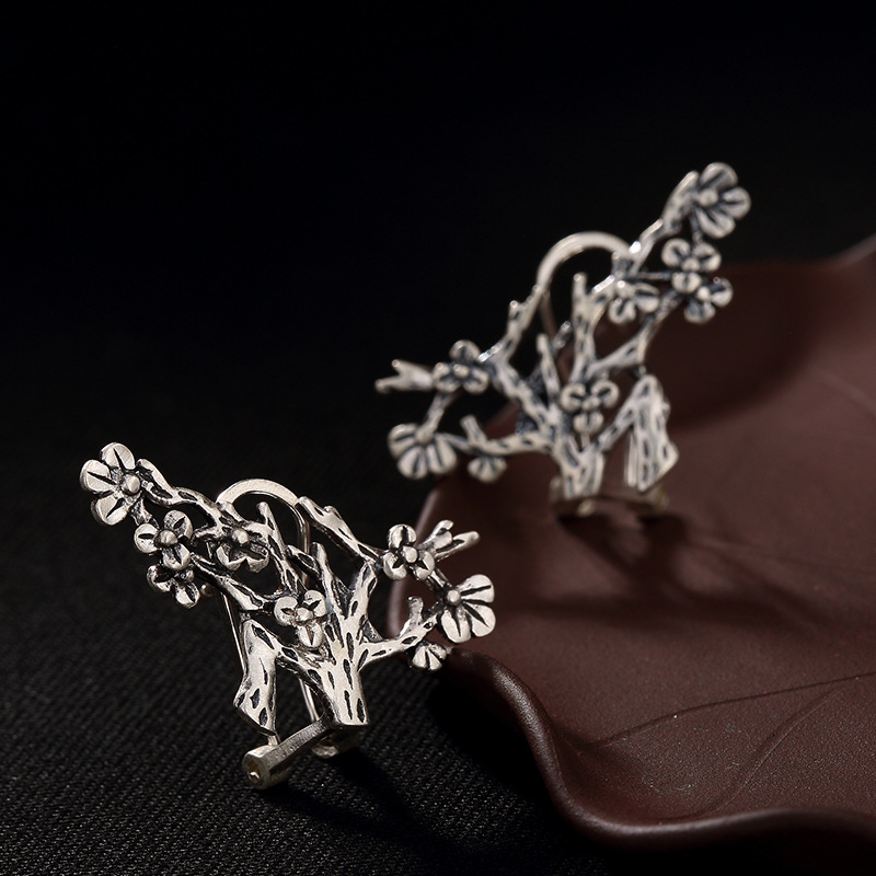 2018 Earings Fashion Jewelry Antique Matte Plum Blossom Lady s Earrings High end All The Way