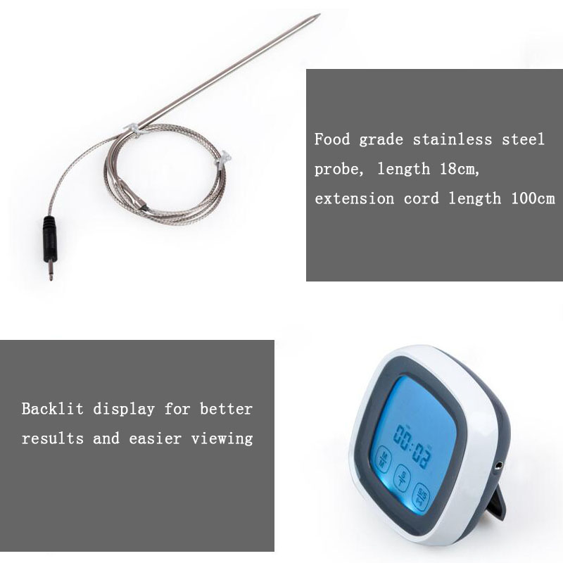 Touch Screen Electronic Thermometer Food Meat Timer Kitchen Cooking Liquid Thermometer With Probe Barbecue Thermometer Alarm in Temperature Instruments from Tools